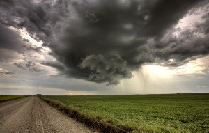 Storm Clouds Saskatchewan yellow bright canola field
