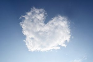 White Heart fluffy clouds on the sky